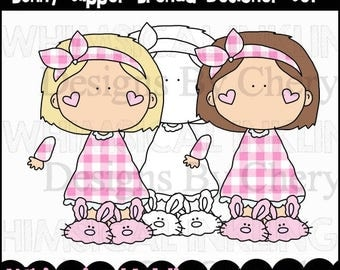 Girls Clipart - Bedtime Clipart - Sleep Over Clipart - Bunny Slipper Brenda Designer Set - Commercial Use - Instant Download