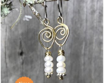 Pearl Earrings - Beaded Earrings - Drop Earrings - Dangle Earrings - Boho Chic Earrings - Rustic Jewelry - Gifts for Her