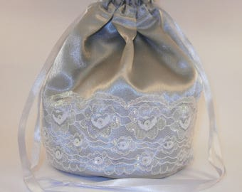 Silver Satin Iridescent White Lace & Sequins Dolly Bag / Handbag Bride Communion Christening Wedding Bridesmaid