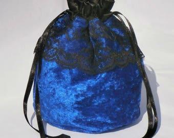 "Royal Blue Crushed Velvet & 3"" Lace Dolly Evening Handbag / Purse Wedding Bridesmaid Bag Drawstring"