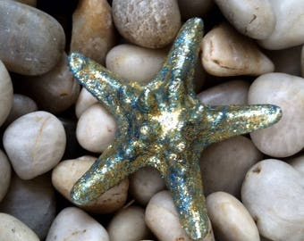 Sparkly gold/blue starfish hair clip