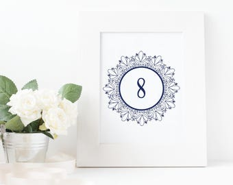 No. TN11 | Table Numbers | 1 - 20 | Wedding, Party or Reception | PDF | JPG | DIY | Printable | Instant Download