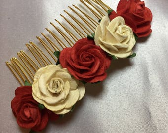 Red ivory hair piece, flower girl crown, wedding comb, flower girl, rose comb, bridal head piece, childrens rose hair band