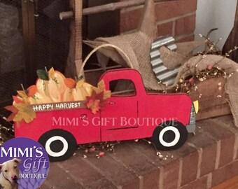 Wooden Red Truck - Harvest Sign