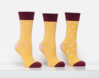 Womens Chartreuse and Pink Polka Dot Socks Crew Length Mismatched Socks