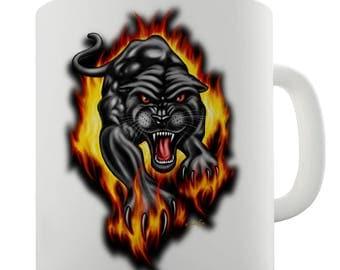 Black Jaguar Flames Ceramic Tea Mug