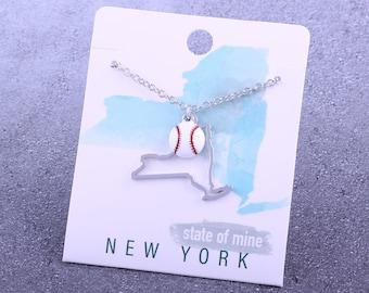 Customizable! State of Mine: New York Baseball Enamel Necklace - Great Baseball Gift!