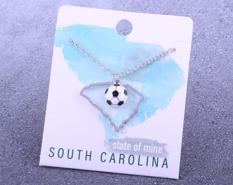 Customizable! State of Mine: South Carolina Soccer Enamel Necklace - Great Soccer Gift!