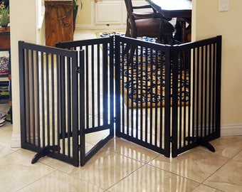 88-Inch Wood Freestanding Pet Gate with Small Door, Espresso and Cherry