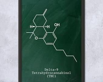 Framed Delta-9 THC Molecule Science Art Print Gift, Cannabis Art, Weed Art, Cannabis Gift, Weed Gift, Stoner Gift, Framed Print, Home Decor