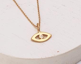 Gold Evil Eye Necklace Set with White Sapphire kabbalah jewellery hamsa jewellery good luck blue eye necklace
