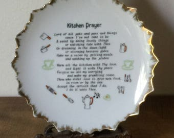 Collector's Plate, Vintage Collector's Plate, Kitchen Prayer Plate