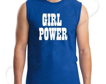 Girl Power Adults Muscle Tee Feminist Protest Women Right Men's Sleeveless T-Shirt Girl Power  - 1606C_GMMT