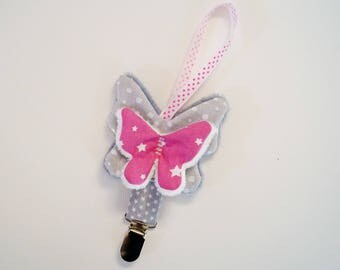 Attache tétine papillon, étoiles et petits pois
