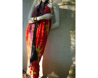 Sarong/pareo sarong with fringe vintage 90s '///Made in Indonesia/Bali oversized beach