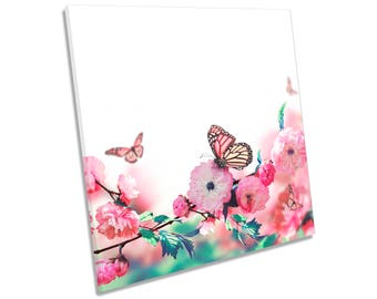 Floral Butterfly Flower Pink CANVAS WALL ART Square Print
