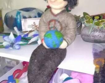 Handmade felted doll.hippie.earthday.decor,eco,earth,large