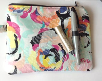 makeup bag accessories tote bag toiletry pouch cosmetic bag sunglasses pouch  - Designer fabric multicolored print zippered pouch