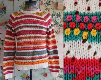 Vintage Rainbow Stripe Lightweight Knit Pullover Sweater. Small.