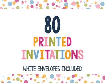 75 Printed Invitations - Professionally Printed Invitations - Print My Invites - Printing Services - 5x7 Invitations - Envelopes Included