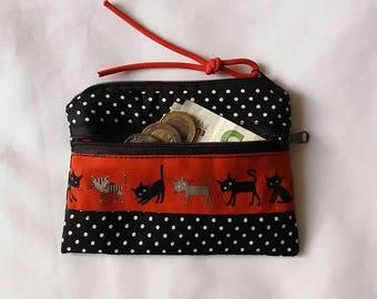 Map pocket, key cases, credit card pocket, business card holder, wallet, cats, purse, handmade