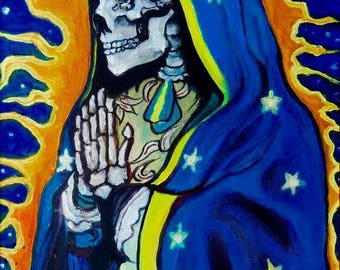 La Santa Muerte ( n*4 ) A3 Print from Original Oil Painting Folk Art Only Death Mexican Art Day of the Dead