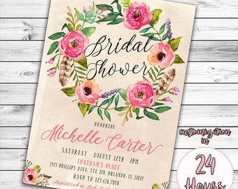 Boho Bridal Shower Invitation, Floral Bridal Shower Invitation, Bridal Shower Invitation, Chic Bridal, Feather, Bohemian, Watercolor Flower