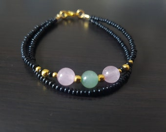 Aventurine and Rose Quartz Gemstone Bracelet