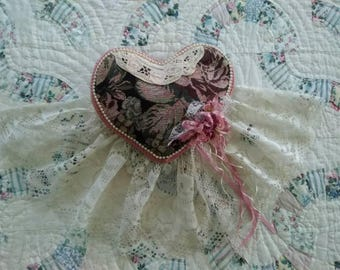 Vintage, Victorian, Heart shaped, Decorative, Bed, Toss, Pillow, Decorative Heart Pillow, Ring Bearers' Pillow