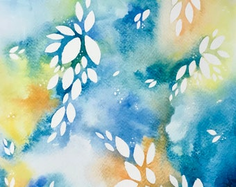 Blue and yellow original watercolour