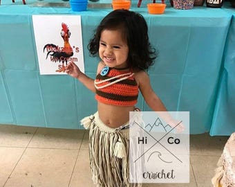 Disney's Moana Outfit, Moana Costume, Moana Photo Prop, Newborn Moana, Moana Toddler Outfit, First Birthday, Moana Theme, Crochet Moana