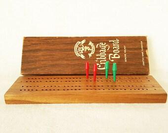 Vintage Pleasantime Cribbage Genuine Walnut Wood Board Card Game