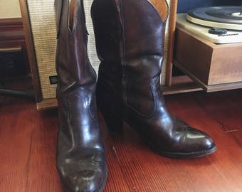 Vintage Frye Chocolate Brown Boots Women's Size 8 Cowboy Boots Cowgirl Boots Western Boots