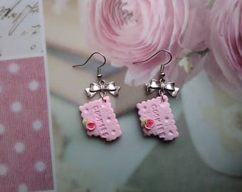 Crunched biscuit - polymer clay jewelry earrings