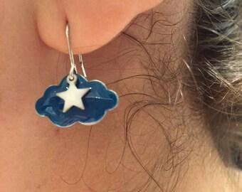 Cloud and star enamel Stud Earrings