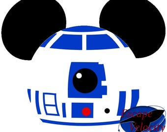 R2D2 Mickey Ears Cut File For Silhouette, Cricut, SVG... File Download