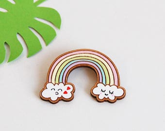 """""""Lovely rainbow"""" wooden brooch _ sober and elegant pin - ideal for parties, wood jewelry"""