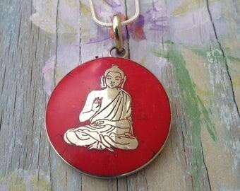 Tibetan silver pendant- Buddha pendant-red and silver Buddha necklace pendant- spiritual jewelry- yoga- meditation-unisex