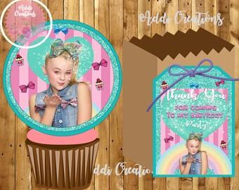 INSTANT DOWNLOAD, JOJO Siwa, Jojo Siwa Invitations, Jojo Siwa Thank You Tags, Jojo Siwa Cupcake Toppers, Party, Birthday, Digital