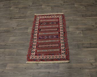 Hand Woven Unique Stripped Sumak Herati Persian Area Rug Oriental Carpet 3X5