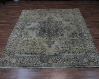 Antique Muted Hand Knotted Beige Tabriz Persian Oriental Area Rug Carpet 9X11