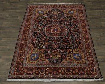 Magnificent Unique Design Black Tabriz Persian Rug Oriental Area Carpet 7X10