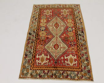 Awesome Vintage Hand Knotted Rare Shiraz Persian Rug Oriental Area Carpet 4X7