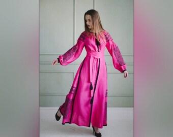 Linen dress Ukrainian embroidered  Vyshyvanka Boho Style Natural Linen Fabric Fuscia