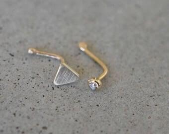 Diamond Nose Stud, 14k gold diamond nose stud, 14k gold nose ring, Diamond Nose Ring, Diamond Piercing, Diamond Nose Hoop, 14k nose stud