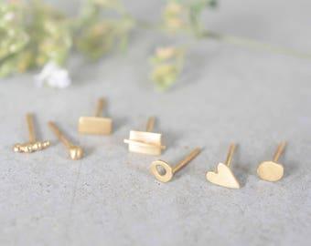Single 14k gold stud earrings, 14k tiny gold stud earrings, solid gold stud earrings, 1 unit , yellow gold stud earrings, Single stud gold
