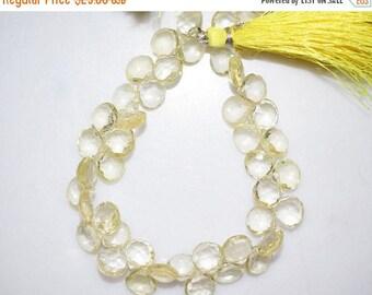 50% OFF Natural Lemon Quartz Heart Shape Faceted Beads -Lemon Quartz Heart Shape Briolette , 7x7-9x9 mm ,  BL669