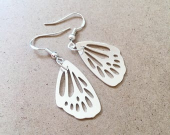 Sterling silver plated butterfly wing earrings