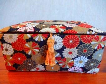 Oriental trinket box, gold and red trinket box, luxury trinket box, fabric covered box, decorative fabric box, handmade box, floral box