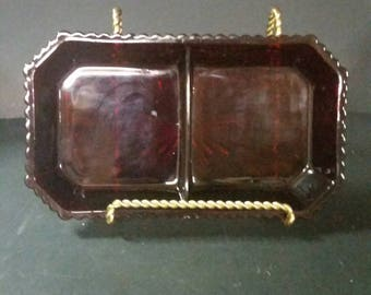 1976 Avon Cape Cod collection.  Condiment dish ruby red.